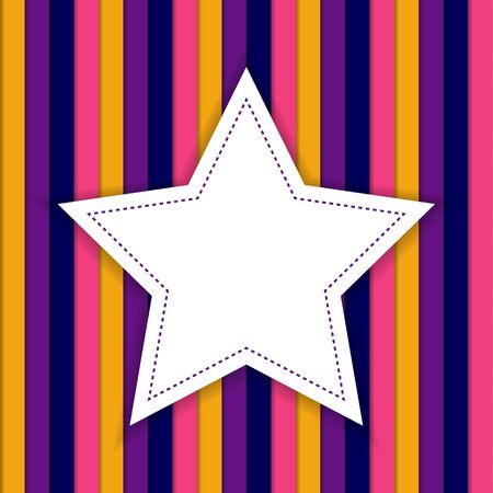 strippad: Stripped background with white star in the middle with copyspace in circus carnival colors Illustration