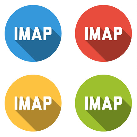 protocol: Set of four colorful buttons isolated flat icons for IMAP Internet Message Access Protocol