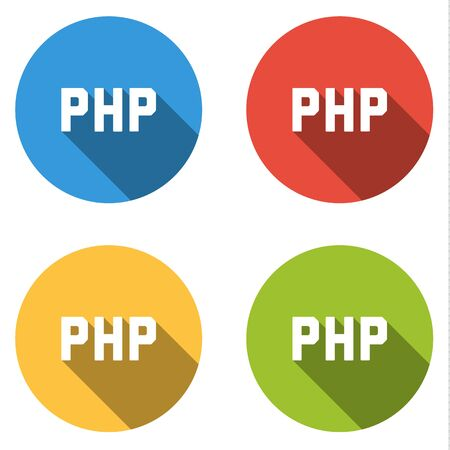 scripting: Set of four colorful buttons isolated flat icons for serverside PHP scripting language