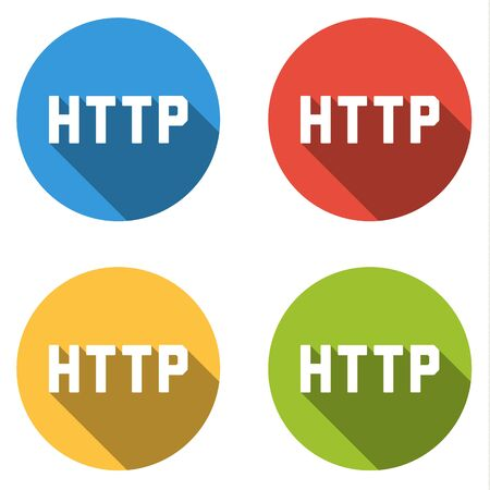 hypertext: Set of four colorful buttons isolated flat icons for HTTP Hypertext Transfer Protocol Illustration