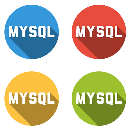 relational: Set of four colorful buttons isolated flat icons for MySQL relational database management system Structured Query Language