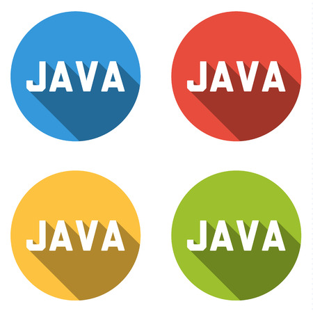 java: Set of four colorful buttons isolated flat icons for JAVA computer programming language