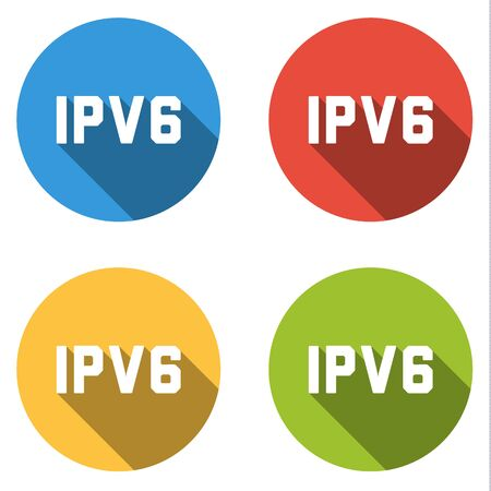 protocol: Set of four colorful buttons isolated flat icons for IPV6 Internet Protocol version 6 Illustration