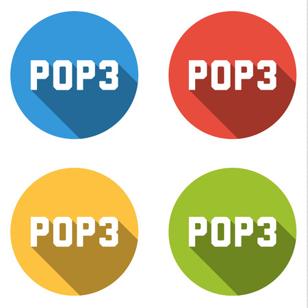protocol: Set of four colorful buttons isolated flat icons for POP3 Post Office Protocol version 3