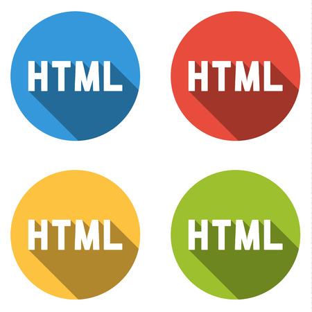 markup: Set of four colorful buttons isolated flat icons for HTML HyperText Markup Language Illustration