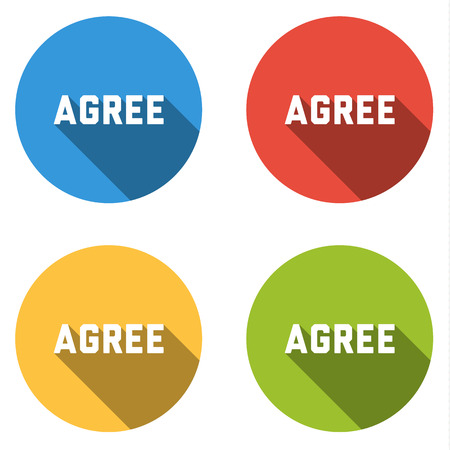 agree: Set of four isolated colorful flat buttons for icons AGREE