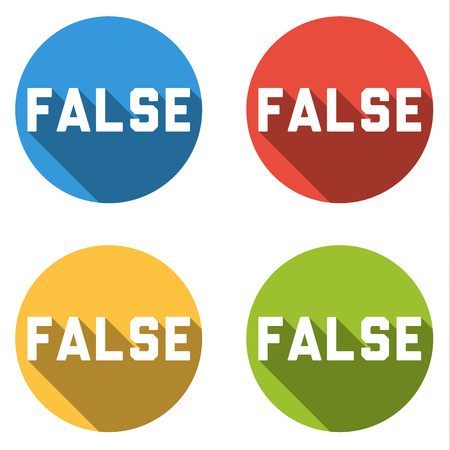 removing: Set of four colorful buttons isolated flat icons for false choice or vote button Illustration