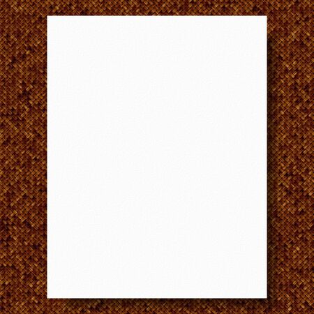 white textured paper: Illustration of white blank paper on brown fabric textured background Stock Photo