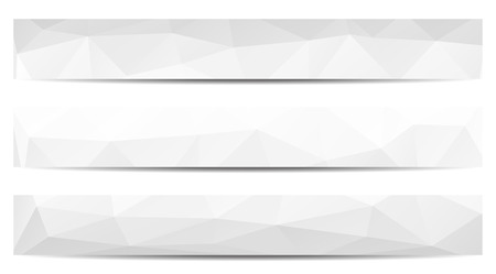 greyscale: Set of 3 isolated low polygonal greyscale full banners