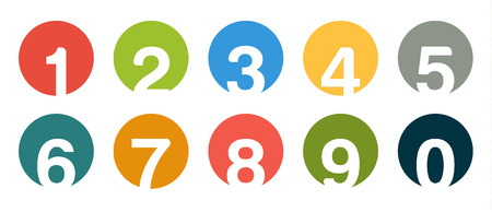 0 9: Set of isolated round number icons for 0 - 9