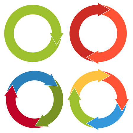 directional arrow: Set of 4 isolated flat colorful circular arrows with different number of arrowheads in solid colors