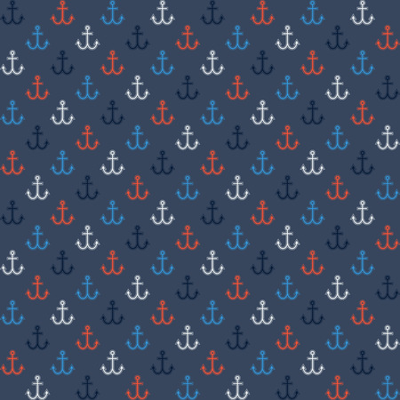 navy blue background: Seamless pattern in navy style - colorful anchors on navy blue background