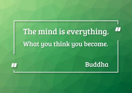 부처님 인용 동기 부여 포스터 - 불교에서 녹색 균형과 조화의 특성을 요약한다 일러스트