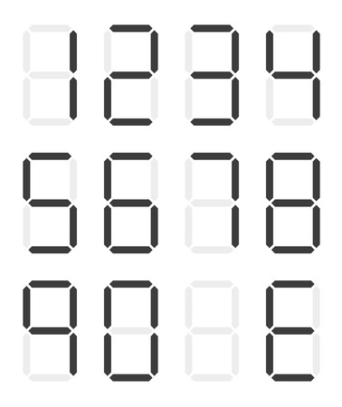 0 9: Set of isolated black digital numbers - 0 - 9 and E for Error