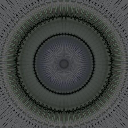 decoratio: Illustration of dark gray mandala symmetrical round ornament Stock Photo