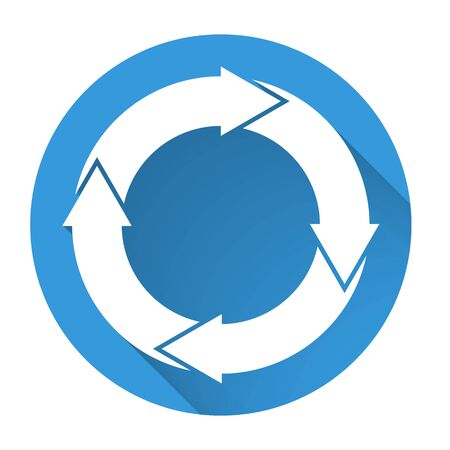 fading: Isolated blue icon with 4 white circular arrows with fading long shadow