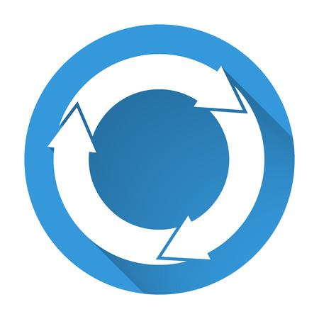 fading: Isolated blue icon with 3 white circular arrows with fading long shadow Illustration
