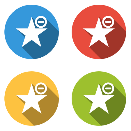 favoritos: Conjunto de cuatro botones planos aislados para Eliminar de favoritos marcador, etc.