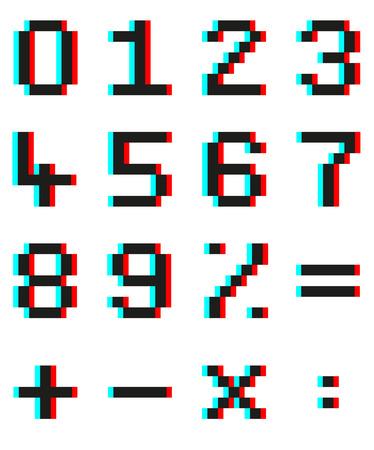 signos matematicos: Conjunto de los números de píxeles y matemáticas signos con efecto 3D anaglifo