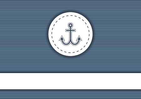 navy blue background: Dark navy blue background with white stripes, badge with anchor