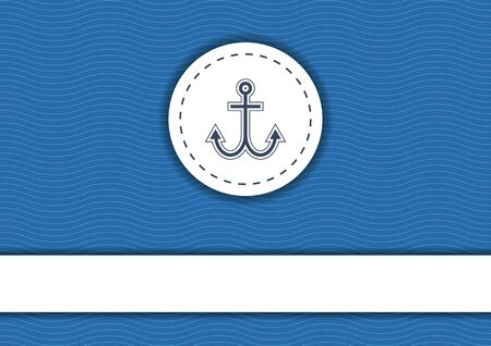 Navy blue background with white waves Sear, badge with anchor and white banner with copyspace Çizim