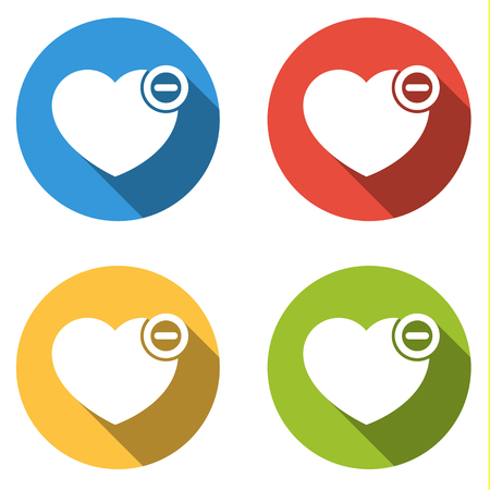 Set of four isolated colorful flat buttons with icons for heart minus - Remove from Favorites icon Illustration