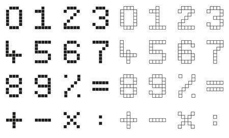 signos matematicos: Conjunto de 2 números de píxeles aislados y signos matemáticos - primero con rejilla, segundo esbozó Vectores