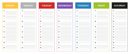 project plan: Week planning calendar in colors of the day Sunday to Saturday Illustration