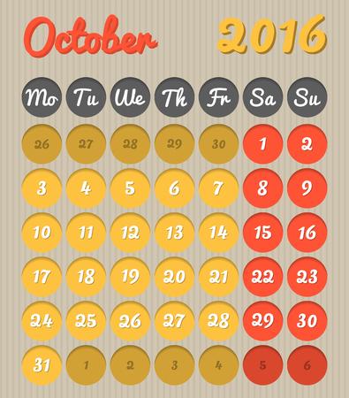 październik: Nowoczesny kalendarz planowania miesięcy w języku angielskim do października 2016 r cały rok avalaible w portfelu