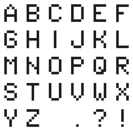 Isolated black pixel alphabet with punctuation