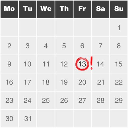 13th: Friday 13th illustration - Month calendar monday to sunday with red marked Friday 13th Illustration