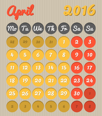 planificacion: Modern month planning calendar in English for April 2016 all year avalaible in portfolio Vectores