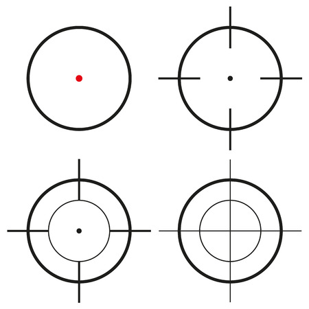 sharpshooter: Set of 4 isolated round black crosshairs