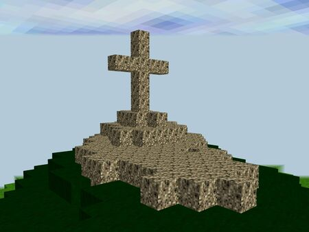 herald: Landscape made of pixel squares with big cross on the top of the hill