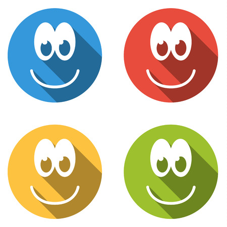pleased: Set of 4 flat isolated colorful icon emoticons pleased with smile, happy face