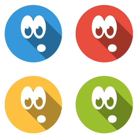 emoticon: Set of 4 isolated flat colorful icon emoticons for surprise