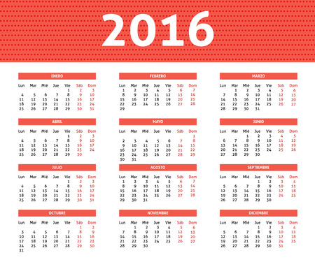 chronological: 2016 year caledar in Spanis in light red color, week starts with Monday Illustration