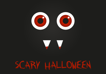 Illustration of monster with red eyes and blood on his teeth with text Scary hallooween