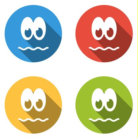 resentful: Set of 4 isolated flat colorful icon emoticons - peevish, resentful, unpleased