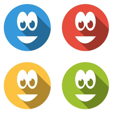 emoticons: Set of 4 isolated flat colorful icons emoticons for big smile Illustration