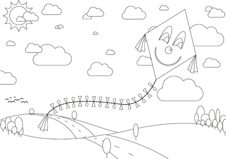 Vector illustration of coloring book with autumn landscape with kite during sunny day