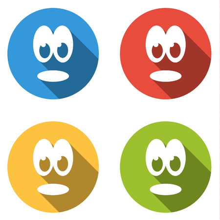 emoticons: Set of 4 isolated flat colorful icon emoticons - shocked smile