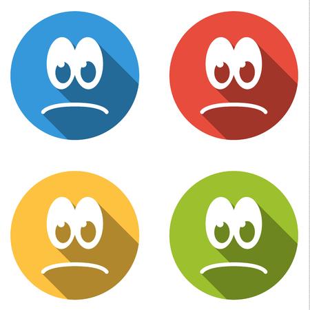 emoticons: Set of 4 isolated flat colorful icon emoticons - sad smile