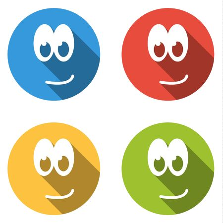 emoticons: Set of 4 isolated flat colorful icon emoticons with little smile Illustration