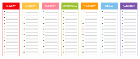 planing: Week planning calendar in colors of the day the according to Thai and Khmer astrological rules