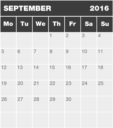 greyscale: Classic month planning calendar in English for September 2016 Monday to Sunday all year avalaible in portfolio