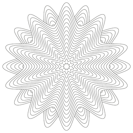 coloring book page: Coloring book page with isolated flower or mandala ornament