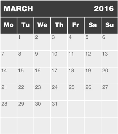 agenda year planner: Classic month planning calendar in English for March 2016 Monday to Sunday all year avalaible in portfolio Illustration