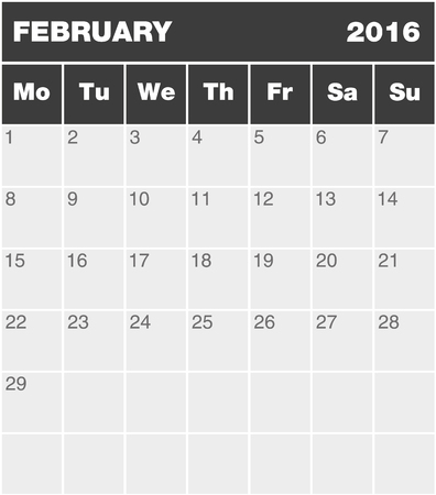 2 months: Classic month planning calendar in English for February 2016 Monday to Sunday all year avalaible in portfolio