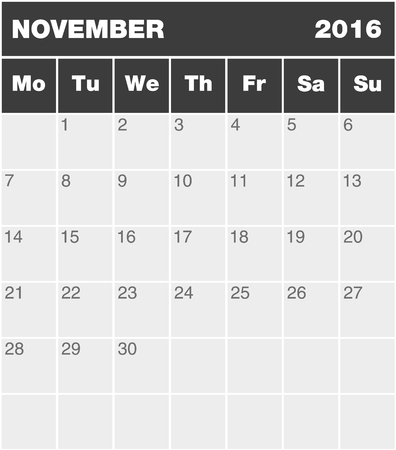 greyscale: Classic month planning calendar in English for November 2016 Monday to Sunday all year avalaible in portfolio